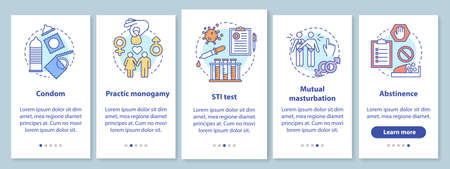 Safe onboarding mobile app page screen with linear concepts. Condom and abstinence. Practic monogamy. Five walkthrough steps graphic instructions. UX, UI, GUI vector template with illustrations