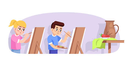 Art lesson for children flat vector illustration. Young painters. Studying of painting. After school club. Extracurricular activities. Boy and girl drawing still life cartoon characters