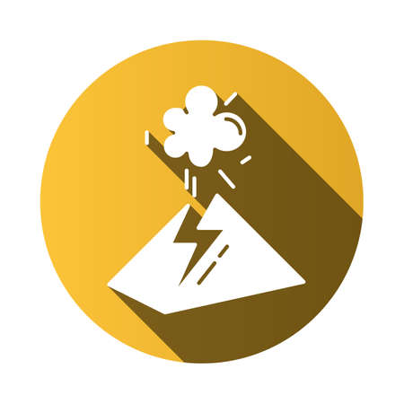 Volcanic eruption yellow flat design long shadow glyph icon. Geothermal power. Volcano explosion. Seismically hazardous area. Smoke and ash emission from mountain. Vector silhouette illustration Иллюстрация