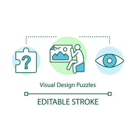 Visual design puzzles concept icon. Interactive game idea thin line illustration. Optical illusion riddles. Different puzzle types. Vector isolated outline drawing. Editable stroke