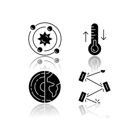 Physics branches drop shadow black glyph icons set. Geophysics, thermodynamics, astrophysics and laser physics. Physical processes and phenomenons. Cosmology. Isolated vector illustrations