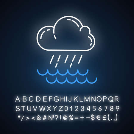 Downpour neon light icon. Cloud, heavy rainfall, incoming water. Rainstorm. Torrential rain over of water. Monsoon. Glowing sign with alphabet, numbers and symbols. Vector isolated illustration