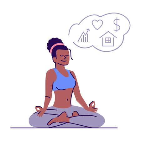 Young woman meditating in lotus position flat vector illustration. Visualisation practice. Girl meditates and attracts dreams isolated cartoon character with outline elements on white background