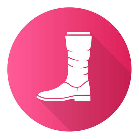 Women calf boots pink flat design long shadow glyph icon. Leather shoes side view. Female flat heel footwear design for fall, spring and winter season. Vector silhouette illustration