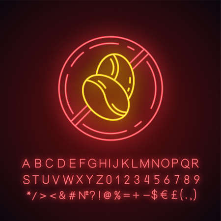 Caffeine free neon light icon. Decaffeinated drink. Product free ingredient. Anxiety, insomnia prevention method. Glowing sign with alphabet, numbers and symbols. Vector isolated illustration Imagens - 132911499