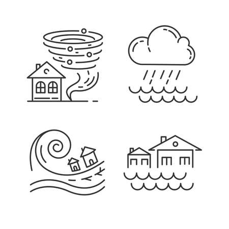Natural disaster linear icons set. Global climate changes danger. Tornado, flood, downpour, tsunami. Thin line contour symbols. Isolated vector outline illustrations. Editable stroke Çizim