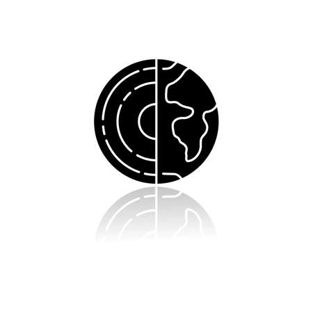 Geophysics drop shadow black glyph icon. Study of Earth crust and core. Physics branch. Inner structure and composition of Earth lithosphere. Planet model. Isolated vector illustration 向量圖像