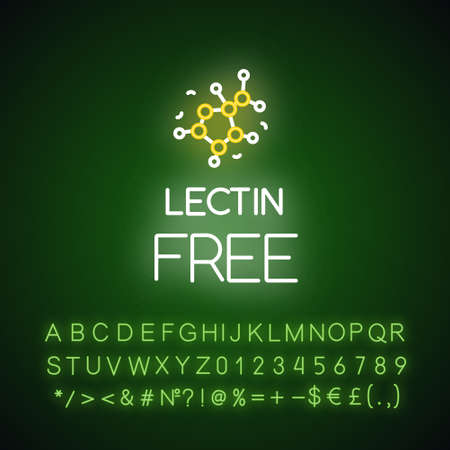 Lectin free neon light icon. Non-toxic, non-chemical. Product free ingredient. Healthy eating, dietary. Glowing sign with alphabet, numbers and symbols. Vector isolated illustration 일러스트