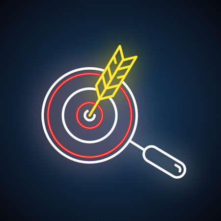 Choose niche neon light icon. Arrow hit target. Search and goal achievement. Customer attraction strategy. Glowing sign with alphabet, numbers and symbols. Vector isolated illustration