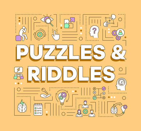 Puzzles and riddles word concepts banner. Solving problems, mysteries presentation, website. Escape games isolated lettering typography idea with linear icons. Vector outline illustration