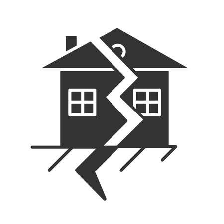 Earthquake glyph icon. Displacement of earth surface. Natural disaster. Geological fault. Seismic activity. Cracked ground and house. Silhouette symbol. Negative space. Vector isolated illustration