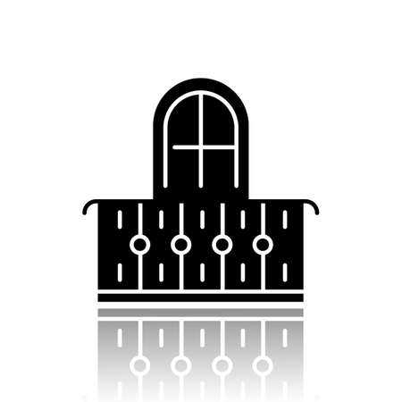 Balcony drop shadow black glyph icon. Interior element, vintage design. Apartment veranda, european terrace with fence. Architecture building exterior part. Vector isolated illustration Standard-Bild - 132911800