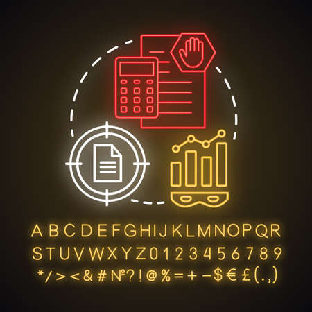 Investment scam neon light concept icon. Illegal business. Financial analytics of shadow economy. Corruption scheme idea. Glowing sign with alphabet, numbers and symbols. Vector isolated illustration