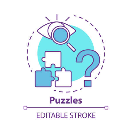 Puzzles concept icon. Quest game idea thin line illustration. Looking for answer, clues. Jigsaw parts. Solving problem, searching solution. Vector isolated outline drawing. Editable stroke Illustration