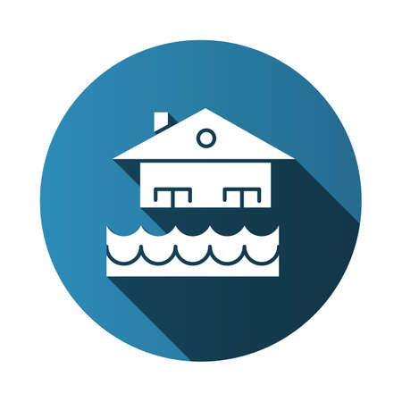 Flood blue flat design long shadow glyph icon. Overflow of water. Sinking house. Submerged building. Flooding locality. Sea level rise. Natural disaster. Vector silhouette illustration