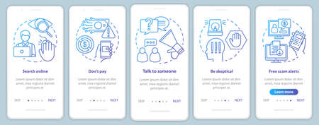 Scam prevention onboarding mobile app page screen vector template. Search online. Walkthrough website steps with linear illustrations. UX, UI, GUI smartphone interface concept