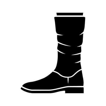 Women calf boots glyph icon. Leather shoes side view. Female flat heel footwear design for fall, spring and winter season. Silhouette symbol. Negative space. Vector isolated illustration  イラスト・ベクター素材