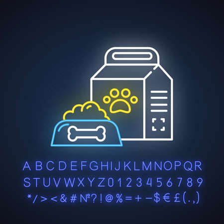 Pet supplies neon light icon. Animal food. Treats for dogs and cats. E commerce department, online shopping categories. Glowing sign with alphabet, numbers and symbols. Vector isolated illustration