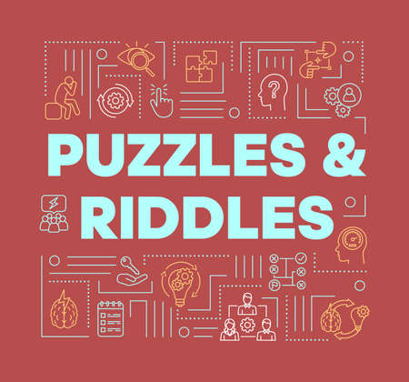 Puzzles and riddles red word concepts banner. Solving problems, mysteries presentation, website. Escape games isolated lettering typography idea with linear icons. Vector outline illustration