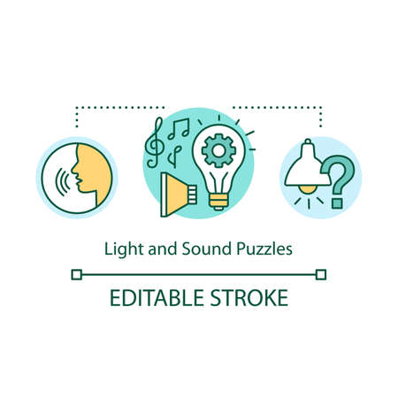 Light and sound puzzles concept icon. Interactive game idea thin line illustration. Audio and visual elements. Different types of puzzles. Vector isolated outline drawing. Editable stroke Illustration
