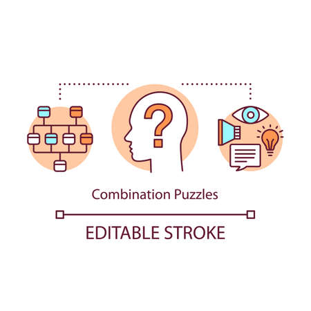 Combination puzzles concept icon. Strategy game solving algorithm idea thin line illustration. Different puzzle types synthesis. Problem solution. Vector isolated outline drawing. Editable stroke