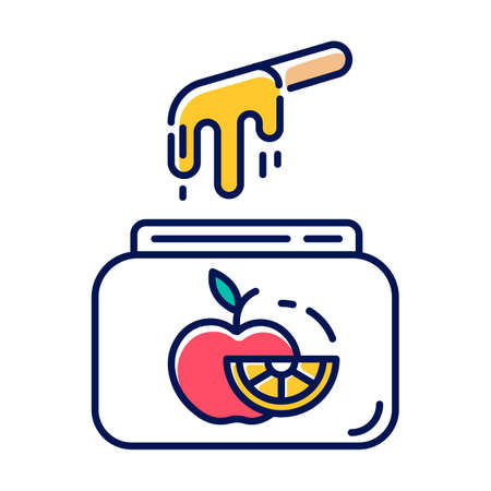 Fruit waxing color icon. Natural, soft, cold wax in jar with spatula. Body hair removal equipment. Tools for depilation. Professional beauty treatment cosmetics. Isolated vector illustration