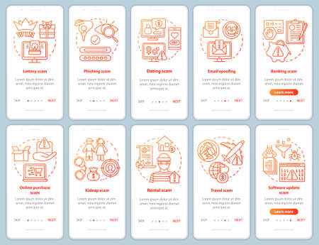 Scam types onboarding mobile app page screen vector template. Email spoofing. Walkthrough website steps with linear illustrations. Travel, banking scam. UX, UI, GUI smartphone interface concept