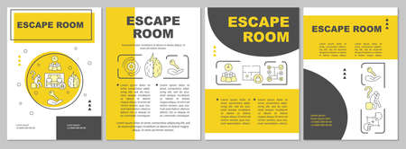 Escape room brochure template. Quest flyer, booklet, leaflet print, cover design with linear illustrations. Strategy, logic game. Vector page layouts for magazines, annual reports, advertising posters Vecteurs