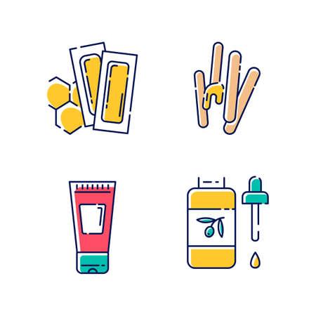 Waxing tools color icons set. Hot, soft wax strips with spatula. Hair removal equipment. Body lotion, oil for depilation. Professional beauty treatment cosmetics. Isolated vector illustrations