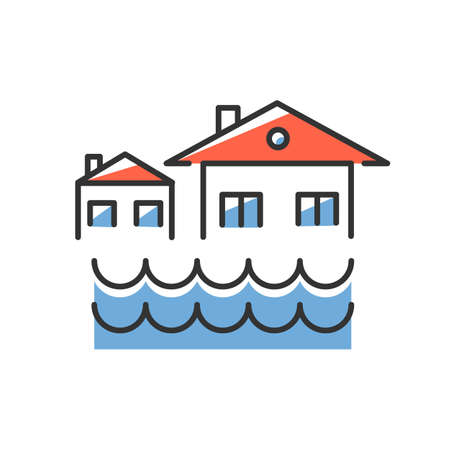 Flood blue color icon. Sinking settlement. Submerged houses. Flooding locality. Overflow of water. River, lake level rise. Natural disaster. Isolated vector illustration Vettoriali