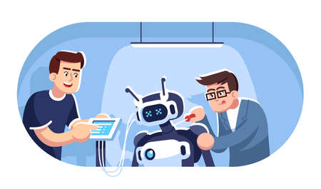 Engineers creating robot flat vector illustration. Robotics courses. Two students constructing mechanical person. Electronic technologies. Young men assembling droid cartoon characters