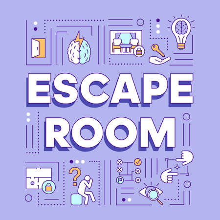 Escape room word concepts banner. Solving problems, mysteries presentation, website. Strategy games, quest isolated lettering typography idea with linear icons. Vector outline illustration