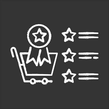 Best seller list chalk icon. Star rating store review. Best customer service. Featured products. Win for buyer. Sales increase strategy. Online shop ranking. Isolated vector chalkboard illustration