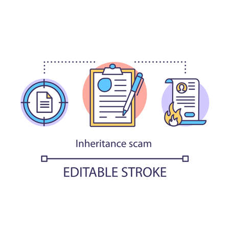 Inheritance scam concept icon. Paperwork fraud idea thin line illustration. Fake law company. Illegal actions through contract. Breaking the law. Vector isolated outline drawing. Editable stroke