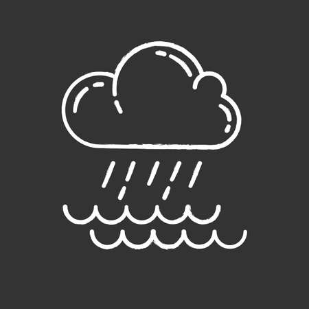 Downpour chalk icon. Cloud, heavy rainfall, incoming water. Rainstorm. Torrential, pouring rain over of water. Meteorological phenomenon. Monsoon season. Isolated vector chalkboard illustration