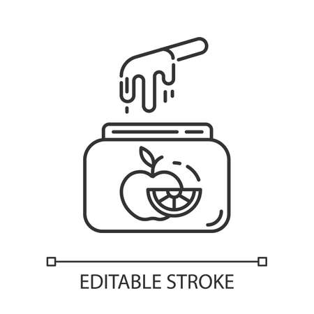 Fruit waxing linear icon. Natural, soft, cold wax in jar with spatula. Body hair removal equipment. Thin line illustration. Contour symbol. Vector isolated outline drawing. Editable stroke