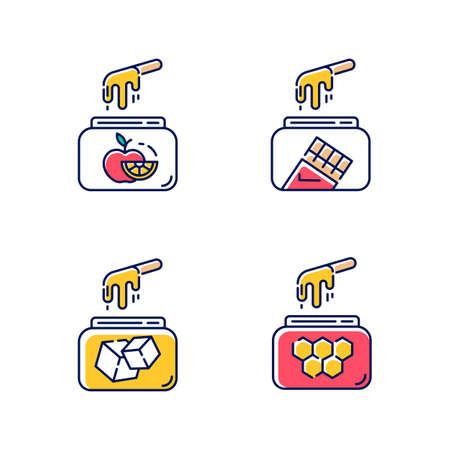 Icône de couleur d'épilation à froid dur. Fruits naturels, sucre, miel, cire de chocolat en pot avec spatule. Matériel d'épilation. Outils pour l'épilation. Cosmétiques de soins de beauté. Illustrations vectorielles isolées Vecteurs