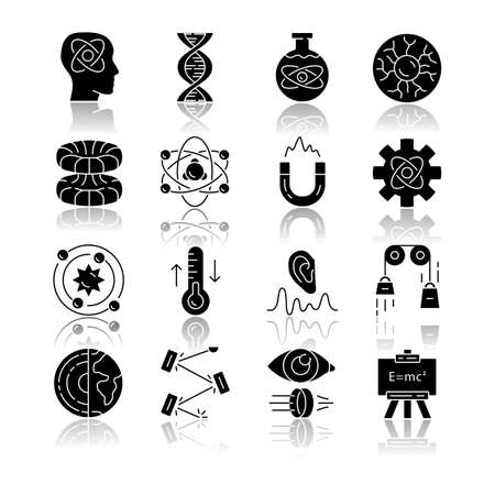 Physics branches drop shadow black glyph icons set. Physical processes and phenomenons. Classical, modern and quantum physics. Electromagnetism, thermodynamics. Isolated vector illustrations