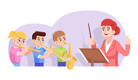 Rehearsal of children orchestra flat vector illustration. Kids ensemble. Music school performance. Art lesson. Girl and boys playing wind instruments, teacher conducting cartoon characters  イラスト・ベクター素材