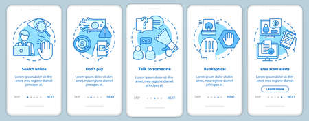 Scam prevention onboarding mobile app page screen with linear concepts. Five walkthrough steps graphic instructions. Free scam alerts. Search online. UX, UI, GUI vector template with illustrations