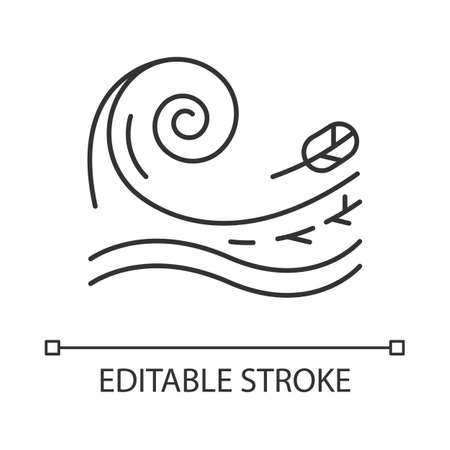Tsunami linear icon. Sea storm. Water splash. Groundswell. Tide. Flash flood. Ocean heavy wave and leaf. Thin line illustration. Contour symbol. Vector isolated outline drawing. Editable stroke