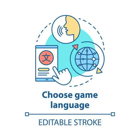 Choose game language concept icon. Select quest translation idea thin line illustration. Multilingual communication. Different linguistic features. Vector isolated outline drawing. Editable stroke