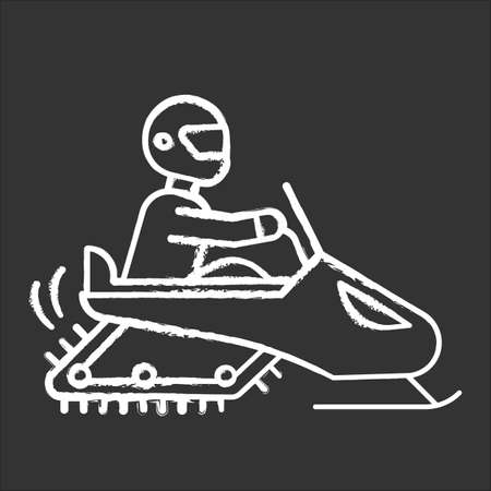 Snowmobiling chalk icon. Winter extreme sport, risky activity and adventure. Cold season outdoor dangerous leisure. Snowmobile driving on snow covered surface. Isolated vector chalkboard illustration