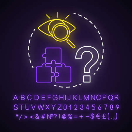 Puzzles neon light concept icon. Quest game idea. Looking for answer, clues. Jigsaw parts. Solving problem, searching solution. Glowing sign with alphabet, numbers. Vector isolated illustration Illustration