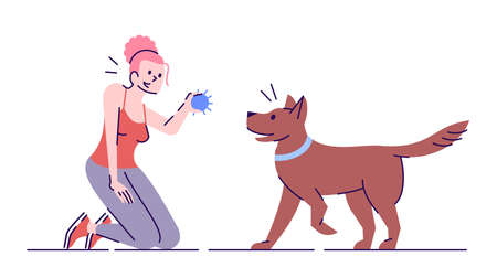 Young woman playing with dog flat vector illustration. Active leisure. Smiling caucasian girl and faithful playful pet isolated cartoon character with outline elements on white background
