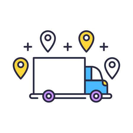 Delivery option color icon. Online order tracking. E commerce concept. Fast shipping truck with location marks. Delivery service. Logistics and distribution. Isolated vector illustration