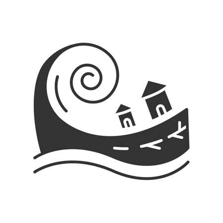 Tsunami glyph icon. Groundswell. Ocean storm washing settlement. Sea wave destruct houses. Hurricane damage. Flash flood. Silhouette symbol. Negative space. Vector isolated illustration