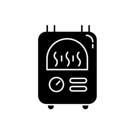 Central heating glyph icon. Warm flat, comfortable apartment temperature, premise condition. Utility service. Building heat equipment. Silhouette symbol. Negative space. Vector isolated illustration Векторная Иллюстрация