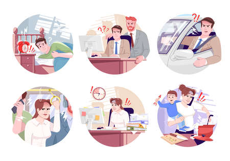 Routine stress flat concept icons set. Stressful morning commuting, boss pressure, maternity leave stickers, cliparts pack. Working tension isolated cartoon illustrations on white background