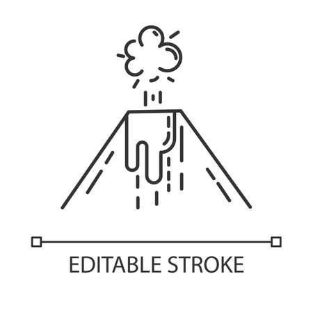 Volcanic eruption linear icon. Smoke, ash and lava emission from volcano. Seismic hazard. Geological disaster. Thin line illustration. Contour symbol. Vector isolated outline drawing. Editable stroke